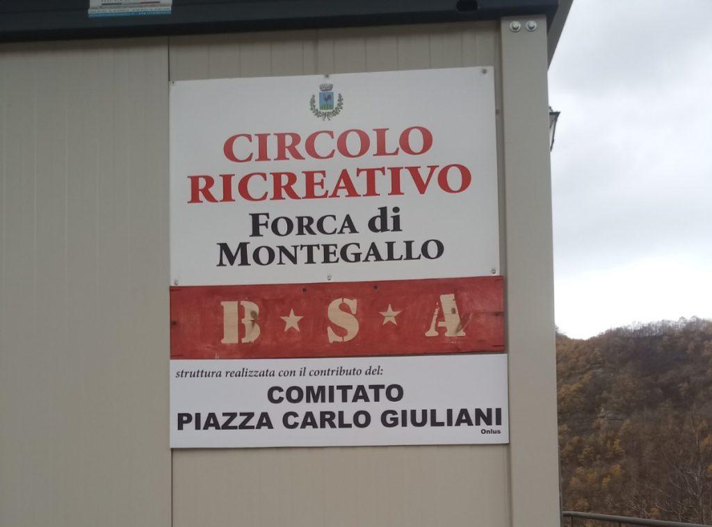 Lo spazio aggregativo a Forca di Montegallo con le BSA