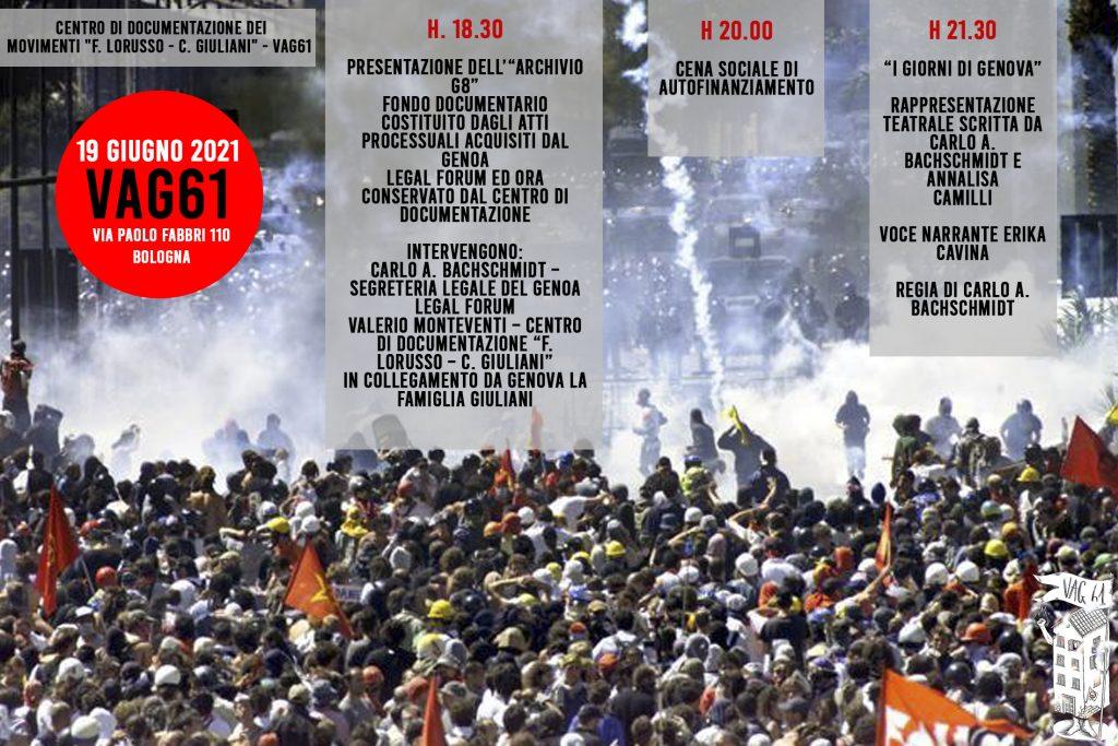 """19 Giugno 2021  CENTRO DI DOCUMENTAZIONE DEI MOVIMENTI """"F. LORUSSO – C. GIULIANI"""" – VAG61"""
